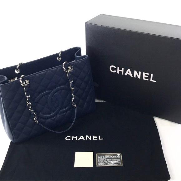 CHANEL Handbags - Chanel GST Caviar Leather Navy Blue.